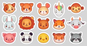 Animals face stickers. Cute animal faces, kawaii funny emoji sticker or avatar. Cartoon vector illustration set. Animals face stickers. Cute animal faces, kawaii stock illustration