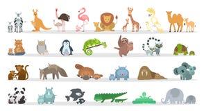 Animals families set. Cartoon animals with babies vector illustration