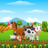 Animals farm happy in the hills. Illustration of Animals farm happy in the hills Royalty Free Stock Photography