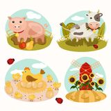 Animals on the farm. Set of farm icons. Cow eats grass. Chicken with eggs and young chicks. Piglet standing in the mud. Windmill in the field with sunflowers Royalty Free Stock Photography