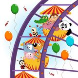 Animals on ferris wheel. Vector illustration, eps Stock Photo