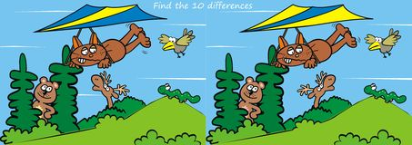 Animals, find ten differences. Game for children.Find ten differences.Landscape and animals Stock Images