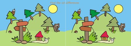 Animals - find ten differences. Game for the children, find ten differences. Animals in the wild Stock Photo