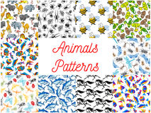 Animals and fishes seamless background set Stock Images