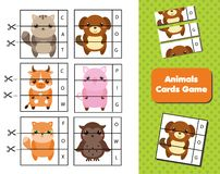 Animals flash cards. Words and vocabulary educational children game. Material for kids and toddlers
