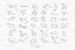 Animals Flat Origami Set Crumpled Royalty Free Stock Photo