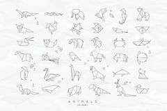 Animals flat origami set crumpled. Set of animals white in flat style origami snake, elephant, bird, seahorse, frog, fox, mouse, butterfly, pelican, wolf, bear Royalty Free Stock Photo