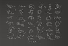Animals flat origami set Royalty Free Stock Images
