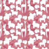 Animals flat set, seamless pattern on pink poligons Royalty Free Stock Image
