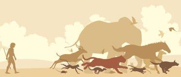 Animals fleeing man vector illustration