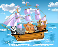 Animals floating on a ship. Vector illustration of animals floating on a ship in the middle of the sea Royalty Free Stock Photography