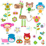 Animals and flowers Stock Image