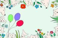 Animals with flowers and balloons. Vector drawing, handmade. For a postcard, a banner vector illustration