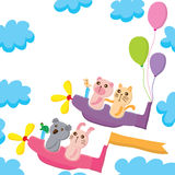 Animals fly joy card Royalty Free Stock Photos