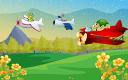 Animals flying plane Stock Images