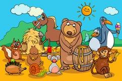 Animals and food cartoon group Stock Photos