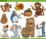 Animals and food cartoon set Stock Images