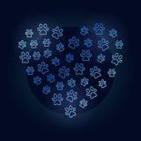 Animals footprints in heart shape vector blue illustration vector illustration