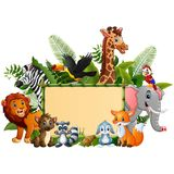 Animals forest cartoon with blank sign bamboo stock illustration
