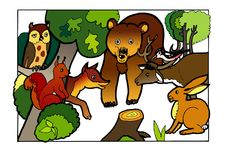 Animals of the forest, colouring book. Picture colouring pages, artistic design, illustrations. Kids   painted, draving paint,sketch Royalty Free Stock Image