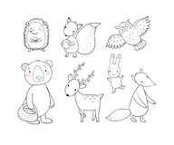 Animals of the forest. Set with cute cartoon bears, fox, hare and squirrel, owl and deer. Design for children - Vector royalty free stock photos