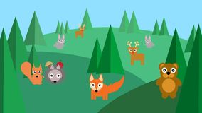 Animals in the forest with trees royalty free illustration