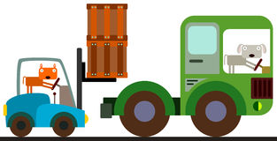 Animals and a forklift Stock Photography