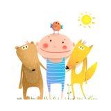 Animals friends fox bear bird and kid childish funny portrait in nature cartoon Stock Photo