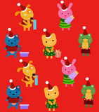 Animals with gift boxes, Christmas Stock Image