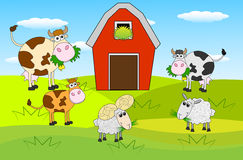 Animals graze on the green lawn near the farm. Vector illustration royalty free illustration