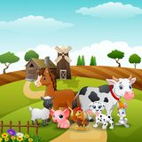 Animals group at the path of farm. Illustration of Animals group at the path of farm Royalty Free Stock Images