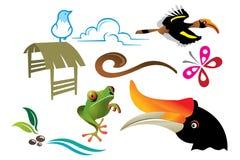 Animals habitat. Different animals, birds of asian region. design elements for nature layout Stock Photo