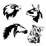 Animals head. lama, eagle, horse, tiger.  vector tattoo Royalty Free Stock Images