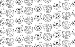 Animals heads drawings seamless pattern of predatory  wild cat animals tiger and lion.Hand painted.Black and white animal pattern. Royalty Free Stock Images