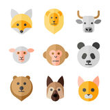 Animals heads vector flat icons set Royalty Free Stock Photos