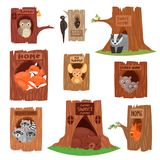 Animals in hollow vector animalistic character in tree hollowed hole illustration set of birds owl or bird on treetops. And squirrel bear or fox in hollowtree royalty free illustration