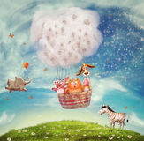 Animals in hot air ballon Stock Photo