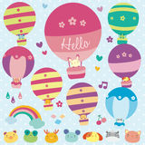 Animals hot air balloon illustration Stock Image