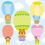 Animals in Hot Air Balloons Vector Illustration Set Royalty Free Stock Photo