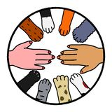 Animals and human cooperation design. Human hand and many dog and cat paws stock illustration