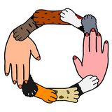 Animals and human cooperation design. Human hand and many dog and cat paws vector illustration