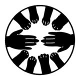 Animals and human cooperation design. Human hand and many dog and cat paws royalty free illustration