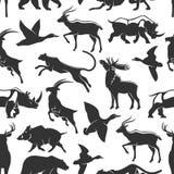 Wild animals hunting, seamless pattern stock illustration