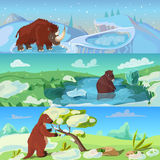 Animals Ice Age Banners Set. With woolly rhino giant beaver and sloth in wildlife isolated vector illustration stock illustration