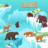 Animals Ice Age Composition. With tiger bear beaver mammoth and deer on frozen nature background vector illustration vector illustration