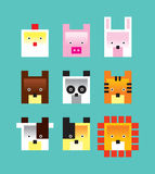 Animals icon. Sweet cute animals icon collection card set greeting Stock Image