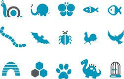 Animals Icon Set Stock Photos