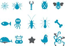 Animals Icon Set Royalty Free Stock Images