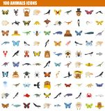 100 animals icon set, flat style. 100 animals icon set. Flat set of 100 animals icons for web design vector illustration