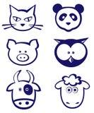 Animals icon set. Set of  six  different animals icons Royalty Free Stock Photos